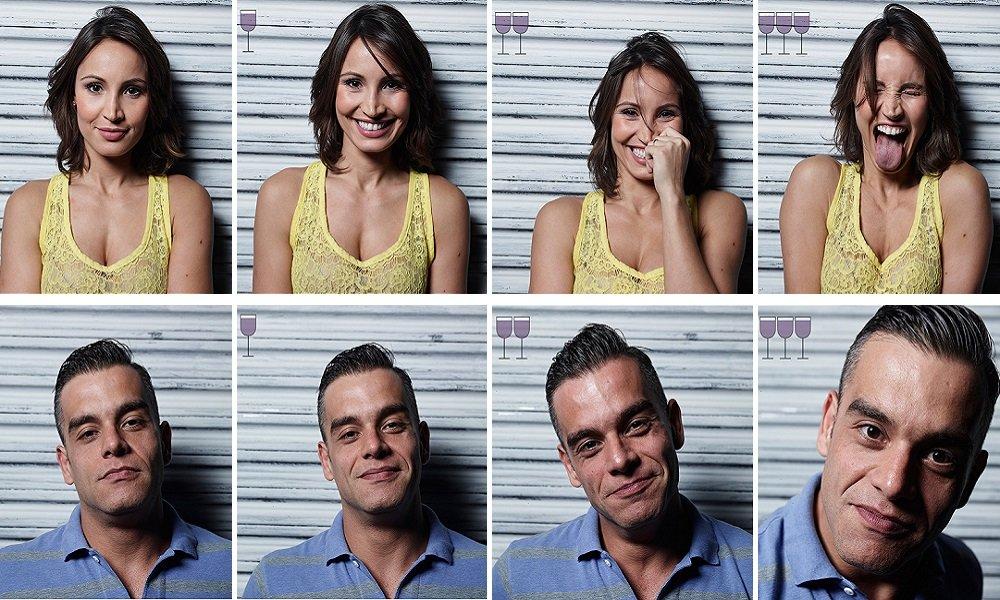 Fotógrafo retrata mudanças na expressão facial após 3 taças de vinho
