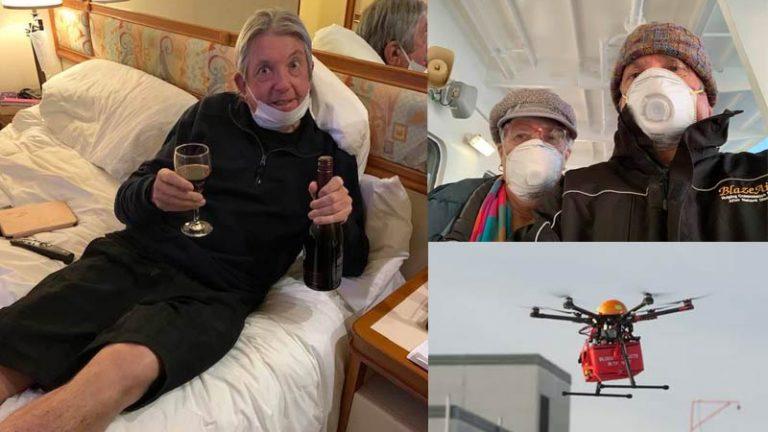 Drone Entrega Vinhos para Casal que está em Quarentena em Cruzeiro por conta de Coronavírus